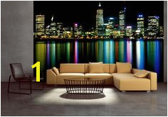 Wall mural wallpaper for living room bedroom office Perth at night photo decor Cityscape Wallpaper