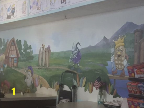 The Waffle Spot Mural with theme charactersw