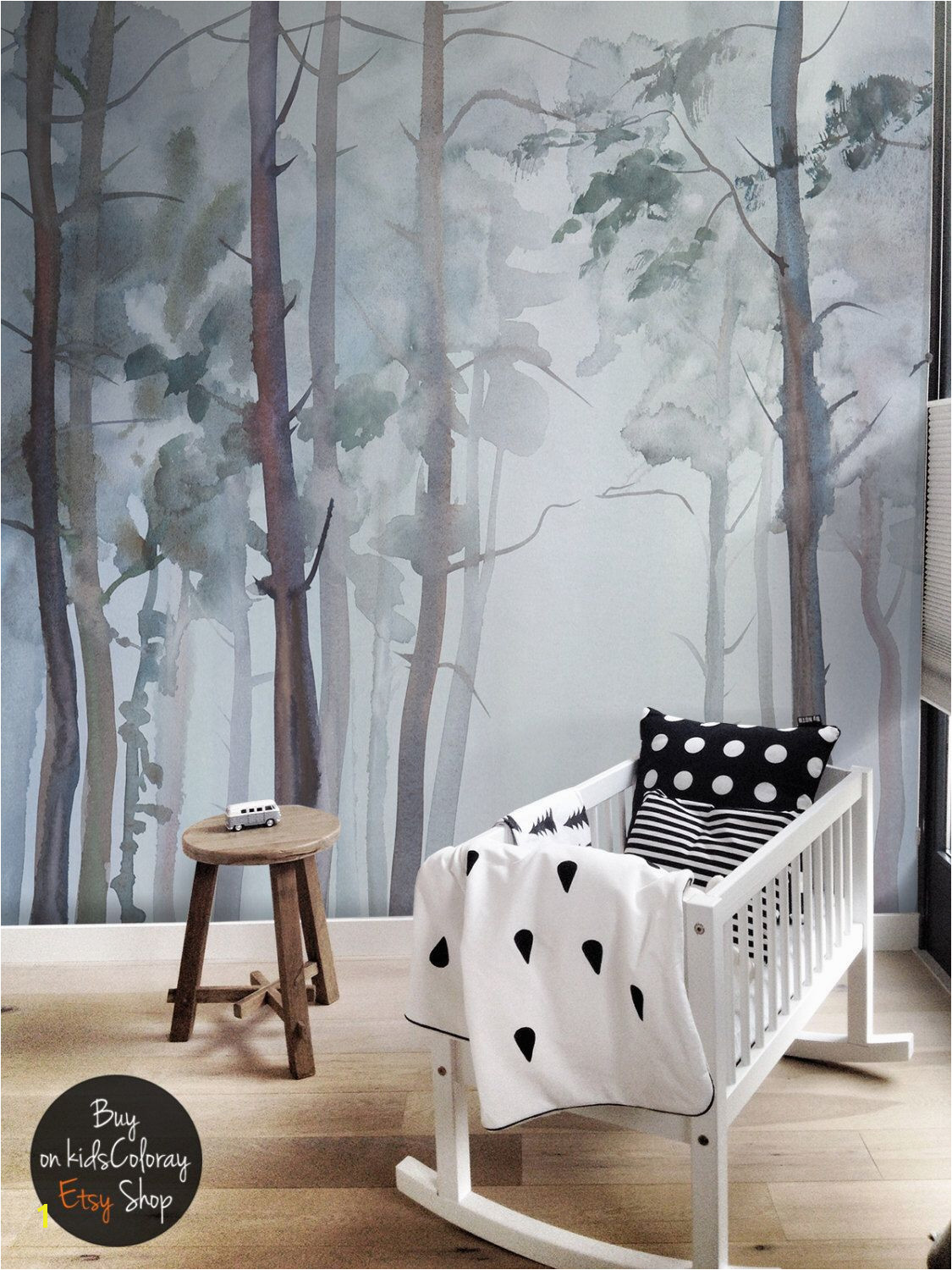 Nature Forest wall mural Peel and stick Gloomy Trees wallpaper Watercolor