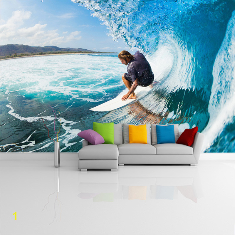 Custom Murals 3D Surfing Wallpapers House Decor Wall Paper Papel De Parede 3D Paisagem Living Room Wallpapers Brick Murals in Wallpapers from Home