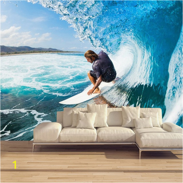 Custom Murals 3D Surfing Wallpapers House Decor Wall Paper Papel De Parede 3D Paisagem Living Room Wallpapers Brick Murals