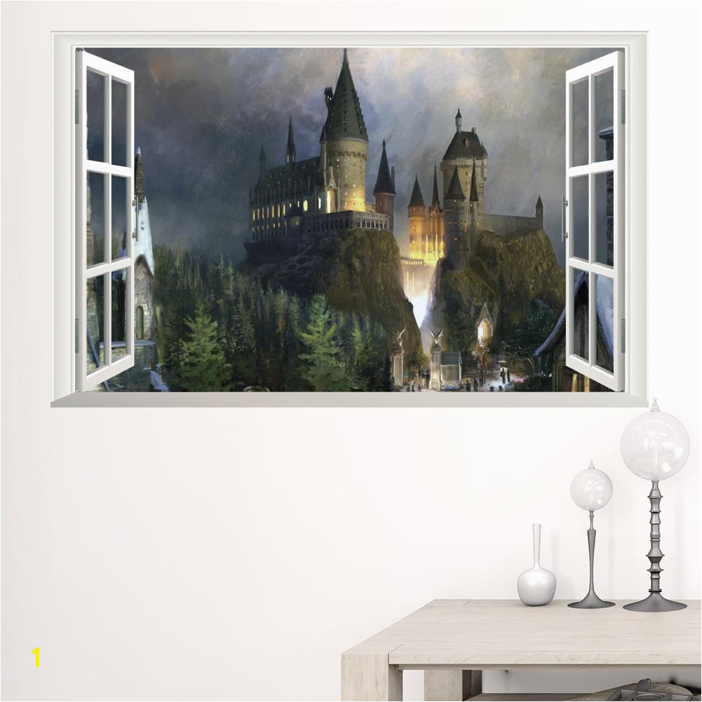 New 3D Windows Ghost Castle Halloween Wall Sticker PVC Festival Wall Decorative Mural Decal For Living Room Bedroom Removable Wall Murals And Decals Wall