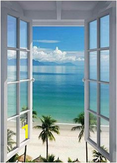 Scenery Window View Open Window Window Poster Beach Wall Decor Playa