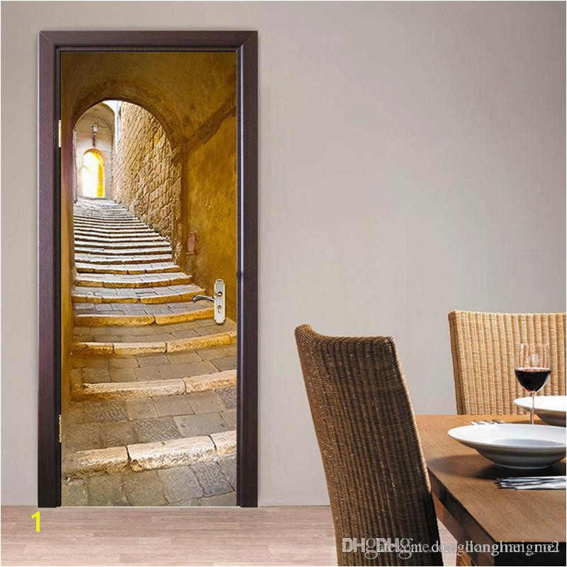 3D Wall Sticker Decal Art Decor Vinyl European Stone Staircase Door Poster Removable Mural Poster Scene Window Door Wallpaper WN641 Wall Decals Cheap