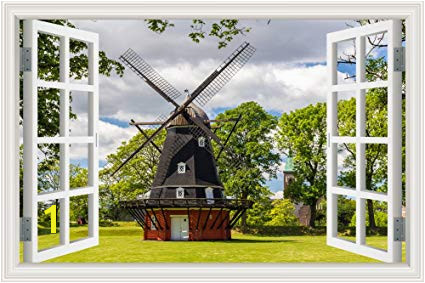 GreatHomeArt Modern Window Scenes Windmill 3D Wall Stickers for Living Room Wall Decor Art Peel and