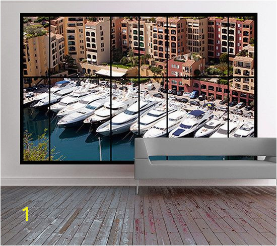 Apartment window view wall mural of Monaco Harbour monte carlo wallpaper City scene wallpaper removable window scene wall mural