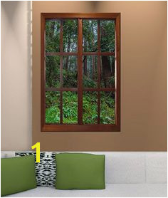 24x36 inches faux window frame photo wall decal with an image of a window frame and California redwoods beyond Perfect for those areas that just need a