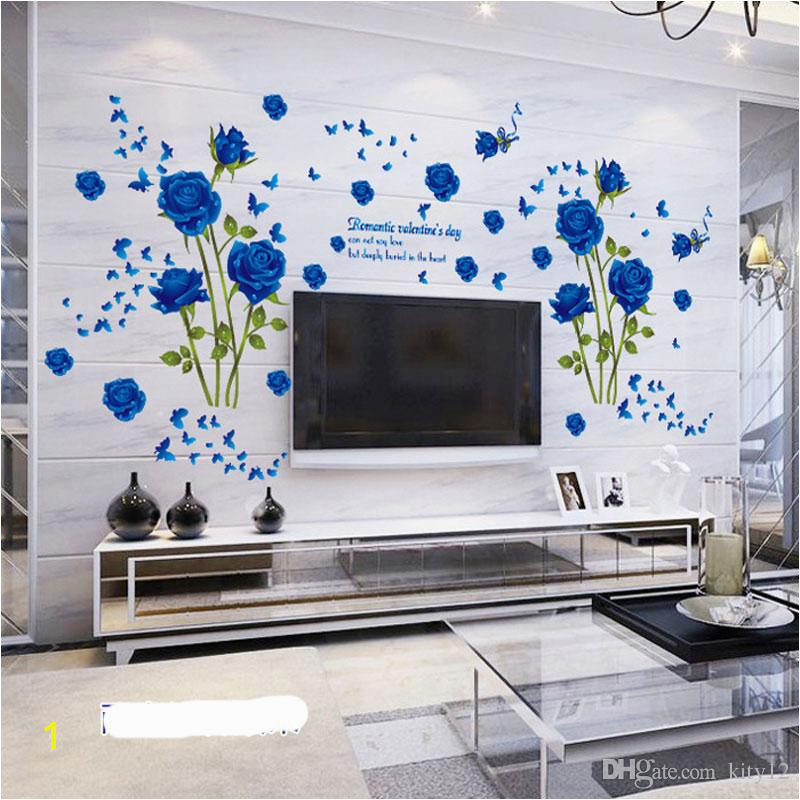 Wholesale Blue Flower Mural Rose 3d Wall Stickers Mural Wallpaper For Sofa TV Background Room Murals Flower Wall Decal Flower Wall Decals From Kity12