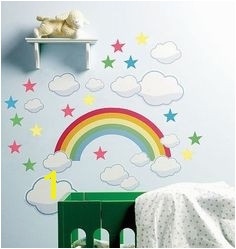 Wallies Rainbow Wall Stickers 42 Decals Sky Mural Stars Cloud Baby Nursery Decor Baby Wall Stickers