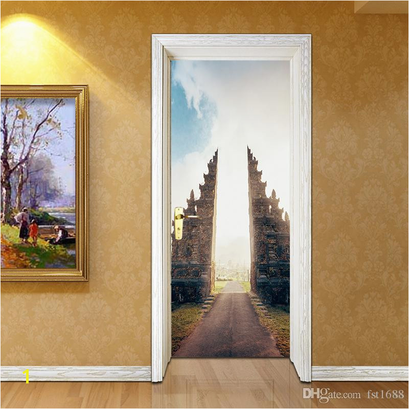 Building 3D Door Sticker Wall Mural Abstract Art Wallpaper Road Vinyl Decals Cool Living Room Bedroom Home Decoration Tree Wall Stickers Tree Wall Stickers