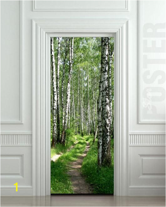 "Door STICKER wood tree forest birch way mural decole film self adhesive poster 30""x79"" 77x200 cm Pulaton stickers and posters 1"