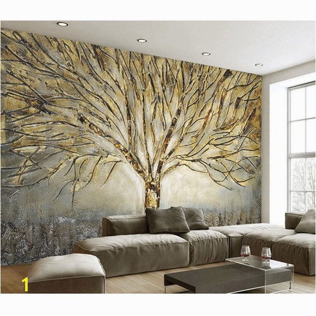 Home Decor Wall Papers 3D Embossed Tree Wall Painting Wall Mural Living Room Bedroom Self Adhesive Vinyl Silk Wallpaper