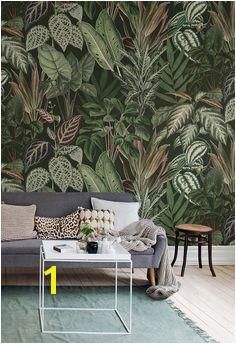 Big green leaves on a dark background Jungle inspired wallpaper Mischievous Monkeys Lush