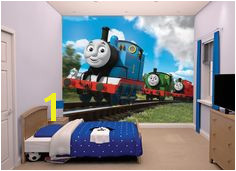 Thomas the tank engine is a timeless character for a wallpaper mural in a boys room