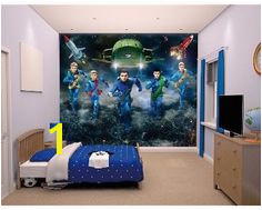 Walltastic Thunderbirds Are Go Wallpaper Mural Thunderbird 1 Childrens Wall Murals Go Wallpaper