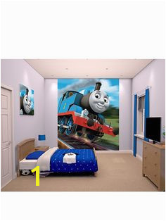 thomas and friends wall mural very roommates the train chair rail prepasted walmart Master Closet
