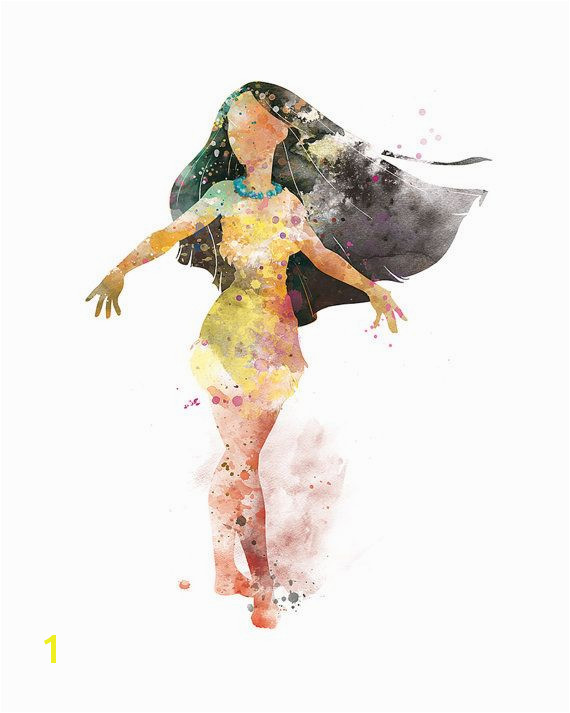 Pocahontas Art Print Watercolor Poster Disney Princess by sPRINNT