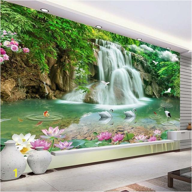 Custom 3D Wallpaper Waterfall Landscape Mural Wall Painting Papel De Parede Living Room Desktop Wallpaper