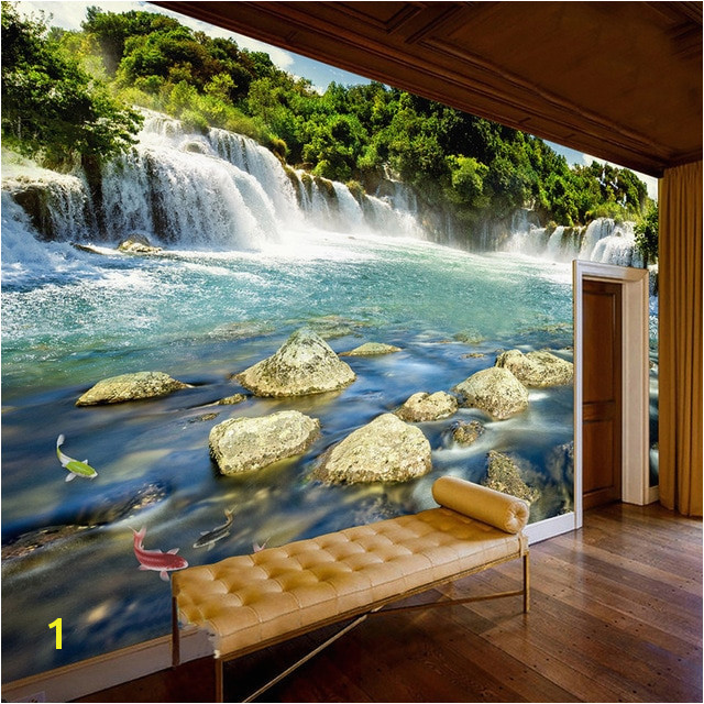 Custom Wall Paper 3D Waterfall Nature Landscape Murals Wall Painting Living Room Bedroom Background Mural Wallpaper