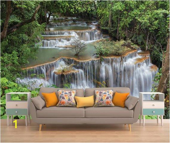 Jungle Waterfall Peel & Stick Wall Mural Wallpaper Eco Certified Wall Decor Wall Art Wall
