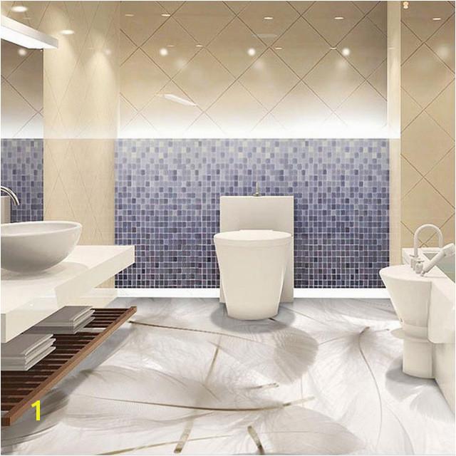 3D White Feather Floor Wall Paper Murals Anti Wear Bathroom Waterproof PVC Self Adhesive Vinyl Flooring Wallpaper Stickers
