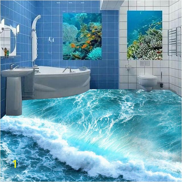 Custom Floor Mural Ocean Seawater Bathroom Floor Vinyl Wallpaper Self adhesive Waterproof Wall Home Decor Wallpaper For Walls 3D