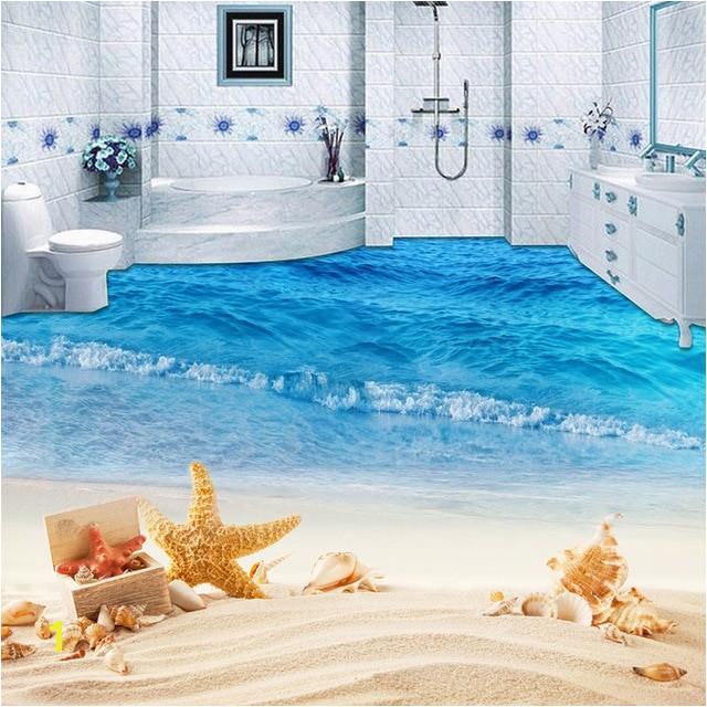 Custom Mural Wallpaper 3D Beach Sea Wave Painting Sticker Bathroom Kids Bedroom PVC Waterproof Wear Non Slip Floor Murals