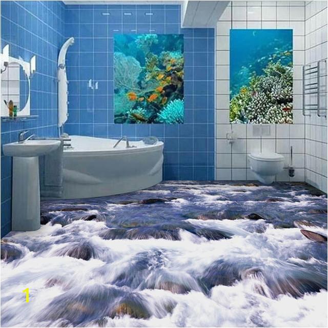 Custom Mural Wallpaper 3D Little Brook Bathroom Floor PVC Waterproof Painting Wall Art Home Decorative Plastic Floor Wall Paper