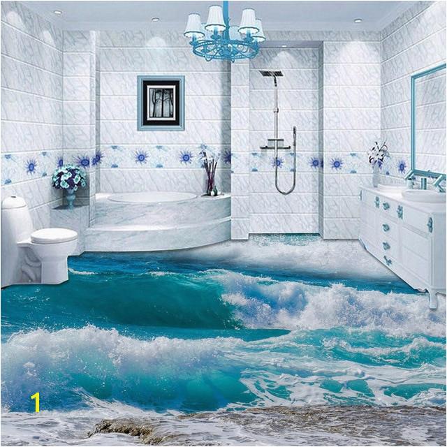 PVC Self Adhesive Waterproof 3D Floor Tiles Wallpaper Modern Seawater Sea Wave Murals Bathroom Bedroom Wall Papers Sticker