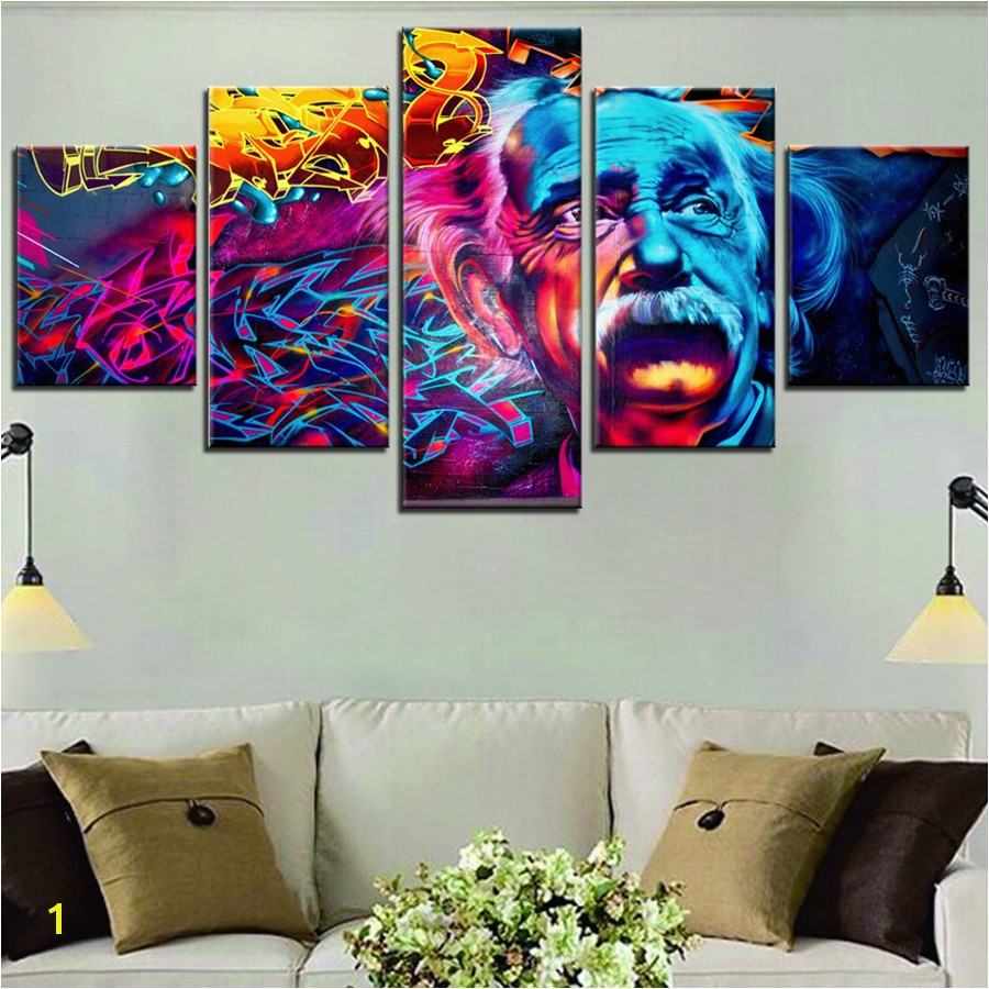 Albert Einstein Scientist Graffiti Wall Art Painting Canvas Print Picture for Living Room Home Wall Decor Dropship Waterproof in Painting & Calligraphy from