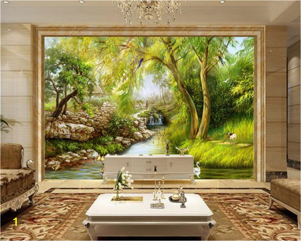 beibehang wallpaper riverside weeping willow Landscape hand drawn painting Wall Sticker Home decoration 3d wallpaper mural in Wallpapers from Home