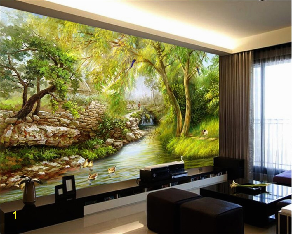 Weeping Willow Wall Mural Beibehang Wallpaper Riverside Weeping Willow Landscape Hand