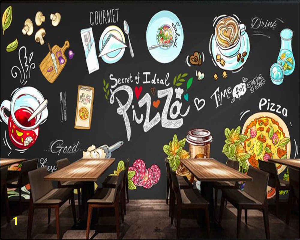 beibehang Customize any wallpaper murals HD hand drawn chalkboard pizza shop background wall mural photo wallpaper for walls 3 d