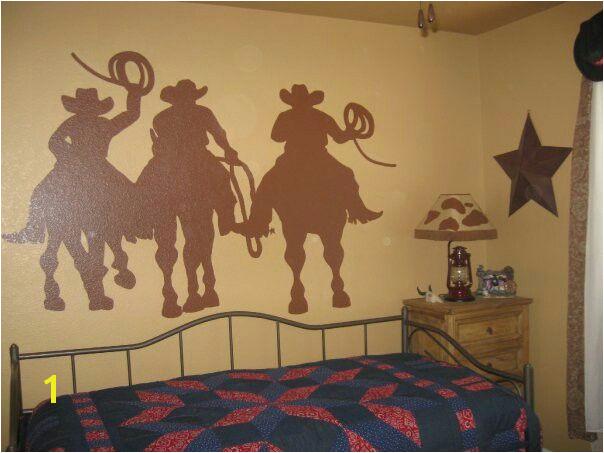 Cowboy silhouette mural Western Rooms Cowboy Room Western Cowboy Murals Cowboys