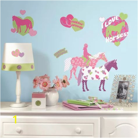 HORSES 44 BiG Wall Stickers Girls Room Decor Decals Kids HEARTS Polka Dots Pony Western decor Pinterest