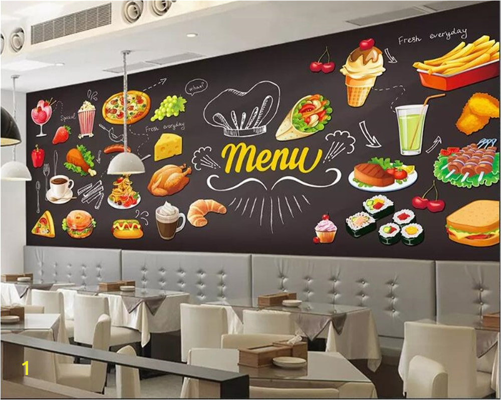 beibehang Custom 3d Wallpaper HD Hand Painted Burger Pizza Western Restaurant Cafe Wall papier peint mural 3d wallpaper tapety in Wallpapers from Home