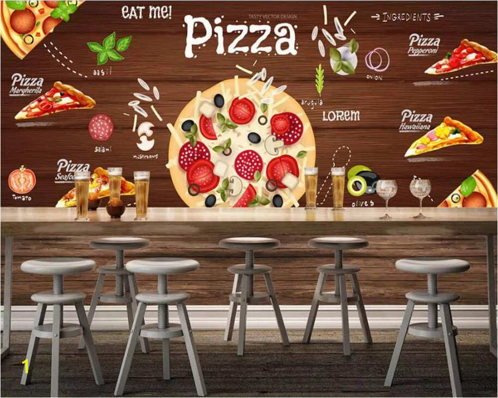 beibehang Custom wallpaper 3D Pizza background wall western restaurant murals TV backdrop wall mural Wallpaper for wall 3 d in Wallpapers from Home