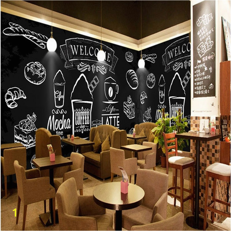 photo wallpaper Hand painted chalk painted fried chicken burger wall western fast food shop coffee cafe