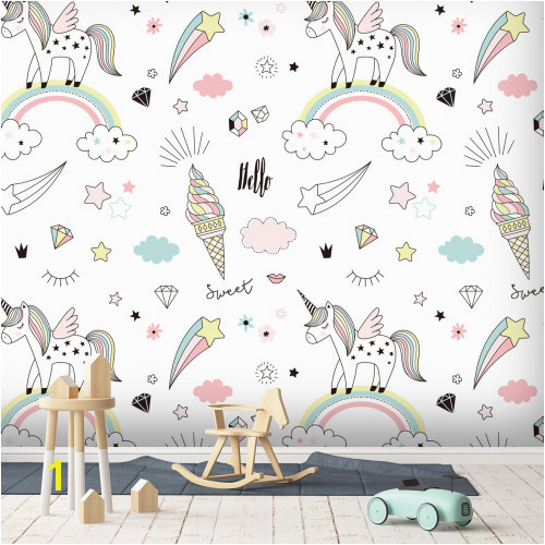 Where the Wild Things are Wall Mural 3d Unicorn 831 Wallpaper Wall Murals Self Adhesive Removable