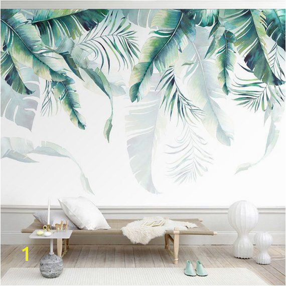 Watercolor Hand Painted Hanging Tropical Leaves Wallpaper Wall Mural Banana Leaves Palm Leaves Wall