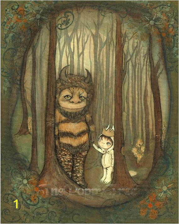 Wild Things Print Where The Wild Things Are Children Moishe Wall Art Forest Dream Monster Max Carol