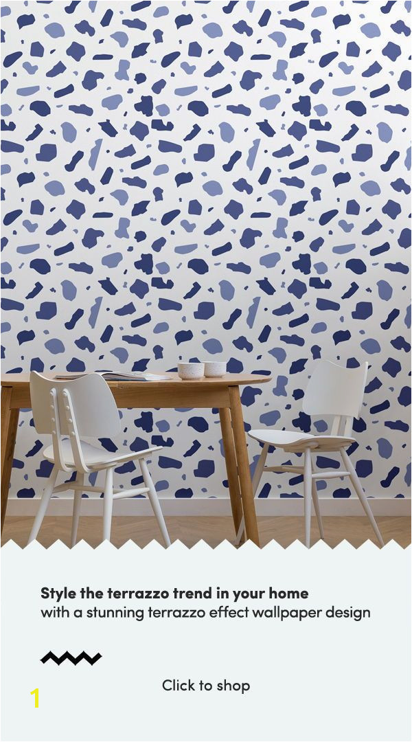 Our Indigo Terrazzo Wallpaper Mural evokes a whimsical tone with its rich bold patterns