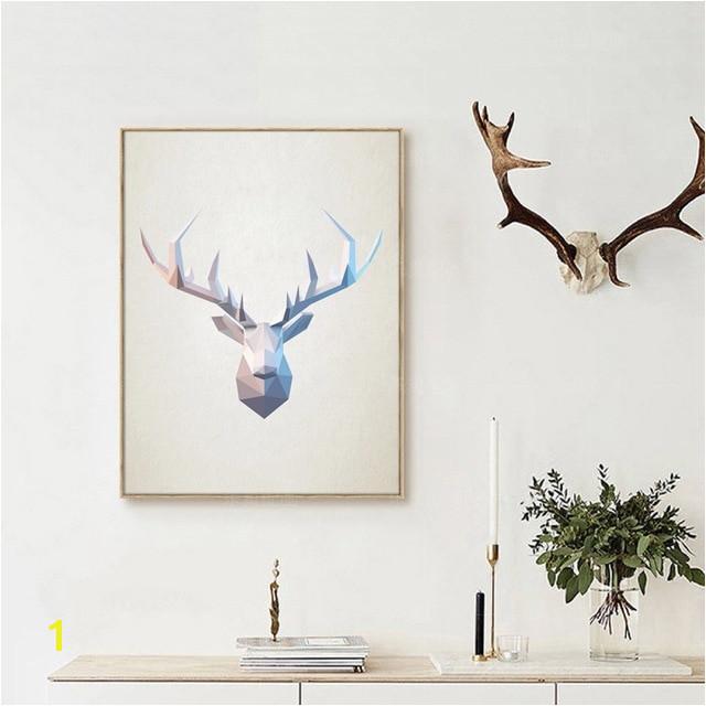Abstract Deer Head Wall Art Print Geometric Polygonal Deer Head Canvas Art Painting Poster Home Modern Decoration