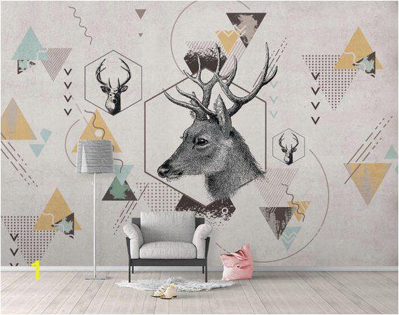 K Geometric Deer Removable Wallpaper Triangle Peel & Stick Wall Mural Self Adhesive