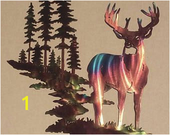 $200 Whitetail Buck Deer w Mountain & Trees Metal Wall Art