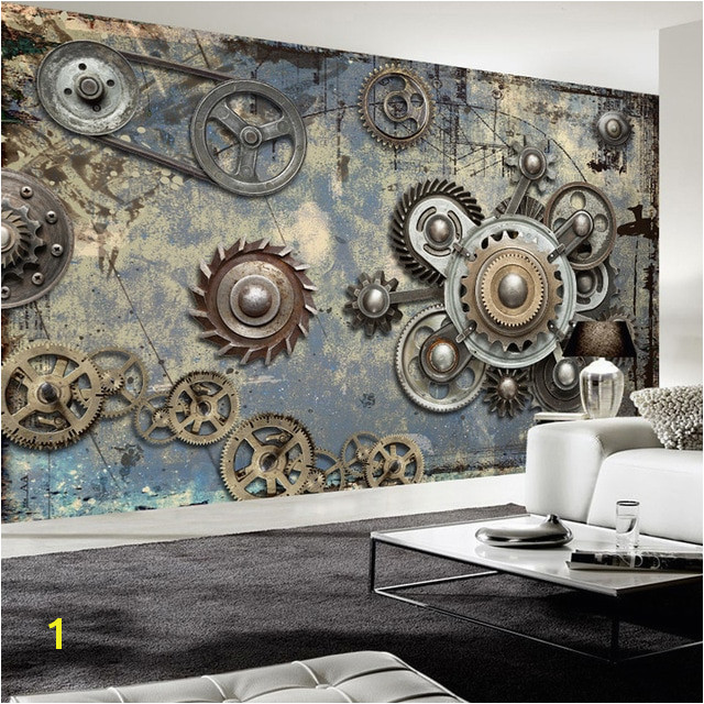 Wallpaper Modern Retro Mechanical Gear 3D Wall Murals KTV Bar Cafe Restaurant Creative Backdrop Wall Decor Papel De Parede