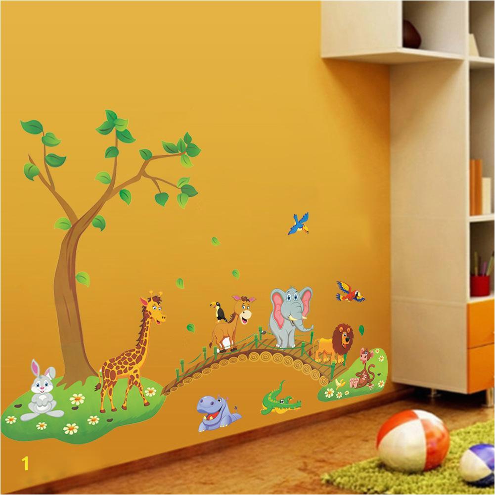 Großhandel 3D Cartoon Dschungel Wilde Tier Baum Brücke Blumen Wandaufkleber Für Kinderzimmer Wohnzimmer Lion Giraffe Elefanten Vögel Wohnkultur Von