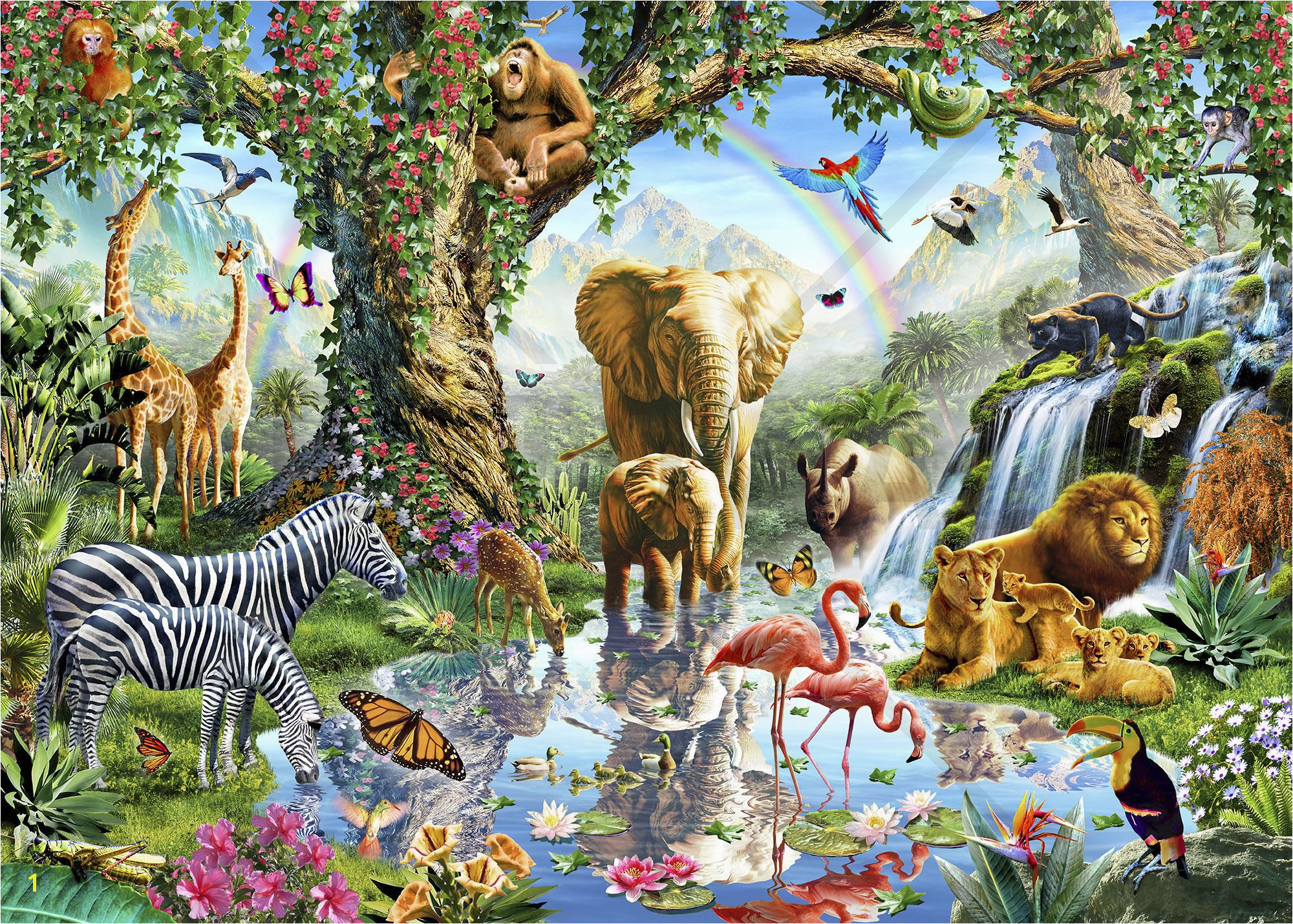 Jungle Lake with wild Animals Wall Mural & Wallpaper wall