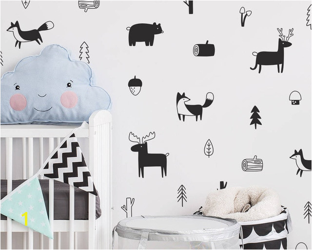 Nordic Style Forest Animal Wall Decals Woodland Tree Nursery Vinyl Art Wall Stickers Children Room Modern Wall Decor