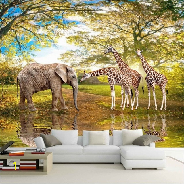 Custom 3D Wall Paper Animal World Forest Elephant Giraffe Living Room Sofa Bedroom TV Backdrop 3D Mural Wallpaper Painting